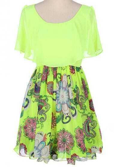 Green Short Sleeve Floral Print Dress