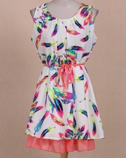 Beige Sleeveless Feather Pattern Ruffle Dress