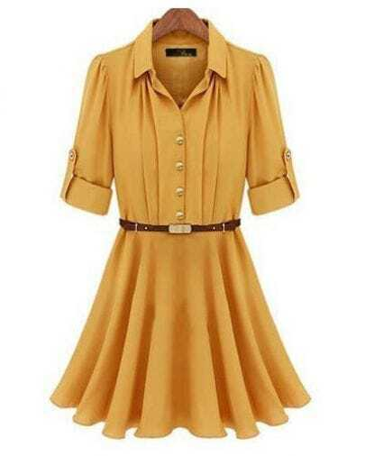 Yellow Half Sleeve Belt Ruffle Dress