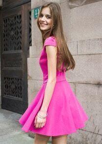Rose Red Short Sleeve Ruffle Dress