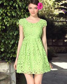 Green Short Sleeve Lace Dress