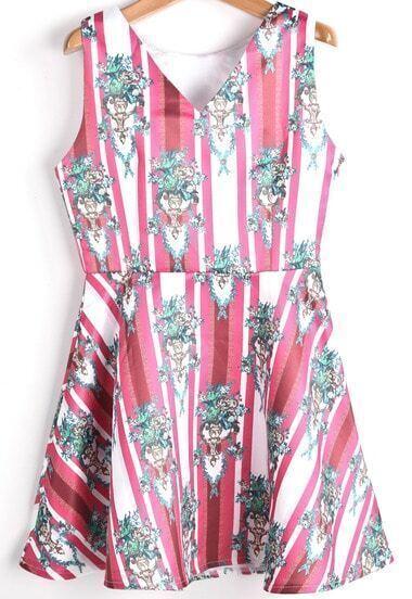 Red V Neck Sleeveless Vintage Floral Dress