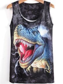 Black Sleeveless Dinosaur Print T-Shirt