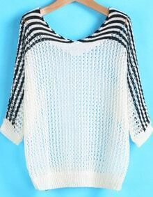 White Contrast Black Striped Hollow Loose Sweater
