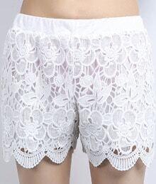 White Elastic Waist Hollow Lace Shorts