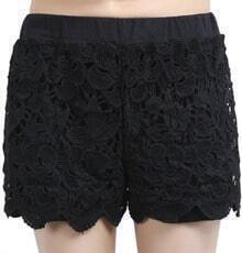 Black Elastic Waist Hollow Lace Shorts