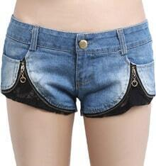 Blue Contrast Lace Bleached Denim Shorts