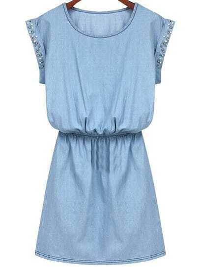 Blue Short Sleeve Rhinestone Slim Denim Dress