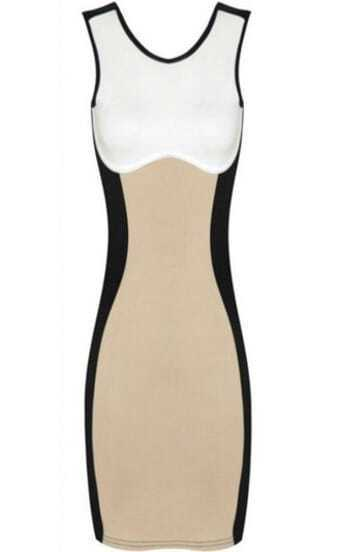 Khaki Contrast Black Sleeveless Body Conscious Dress