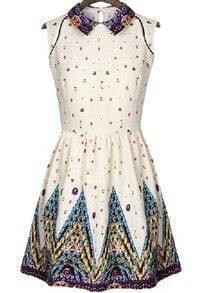 White Sleeveless Vintage Floral Pleated Dress