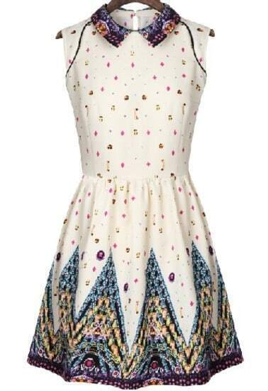 White Sleeveless Vintage Floral Pleated Dress