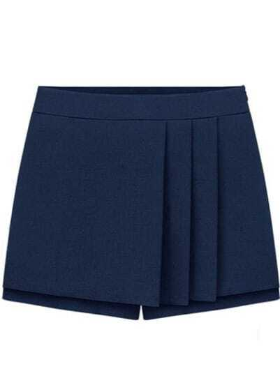 Navy Mid Waist Pleated Skirt Shorts