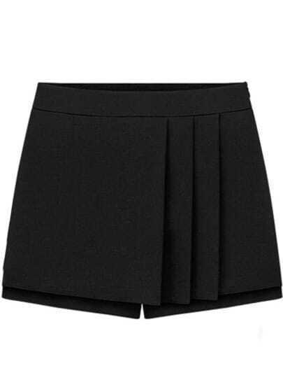 Black Mid Waist Pleated Skirt Shorts