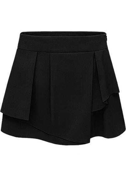 Black Side Zipper Asymmetrical Chiffon Skirt Shorts