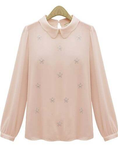 Pink Lapel Long Sleeve Bead Chiffon Blouse