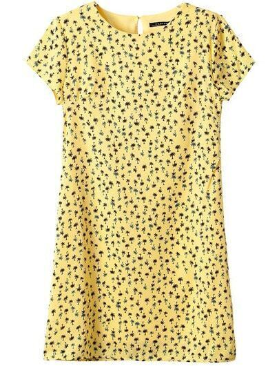 Yellow Short Sleeve Coconut Trees Print Dress
