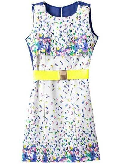 White Blue Sleeveless Belt Geometric Print Dress