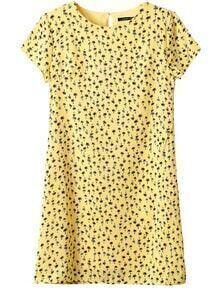 Yellow Short Sleeve Coconut Trees Print Dress