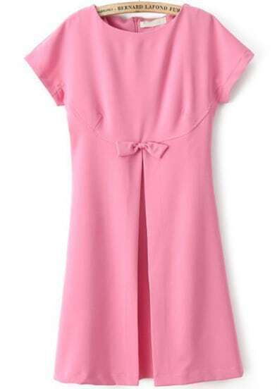 Pink Short Sleeve Bow Split Loose Dress