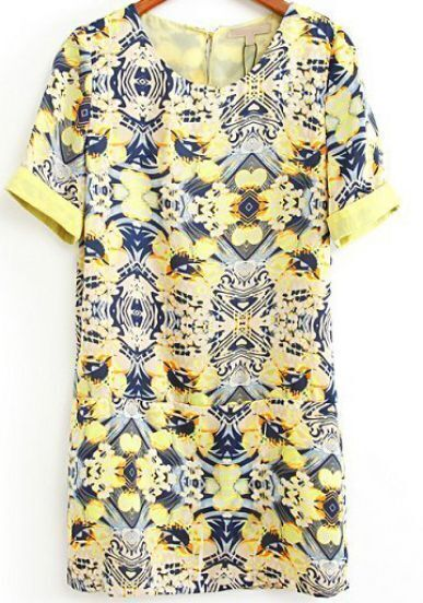 Yellow Short Sleeve Vintage Floral Dress
