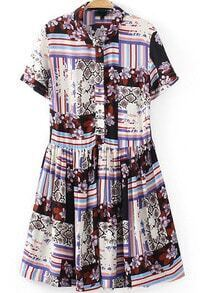 White Short Sleeve Striped Floral Pleated Dress