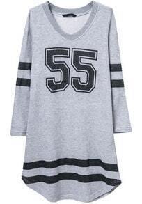 Grey Long Sleeve 55 Print Loose Dress