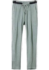 Green Drawstring Waist Houndstooth Loose Pant