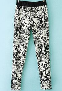 Black White Floral Slim Pant