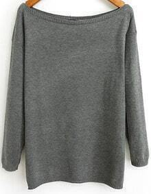 Grey Boat Neck Long Sleeve Loose Knit Sweater