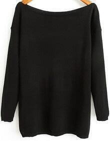 Black Boat Neck Long Sleeve Loose Knit Sweater