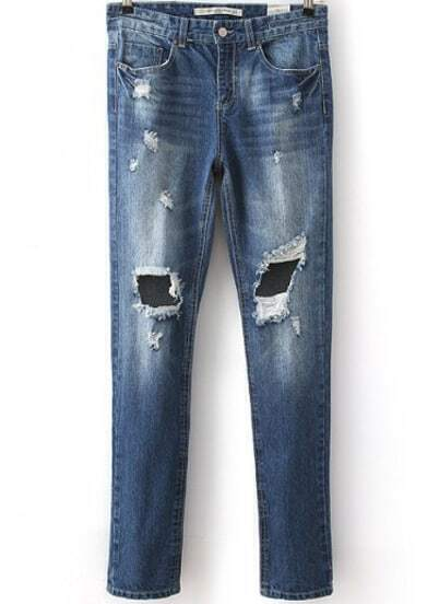 Blue Bleached Ripped Straight Denim Pant