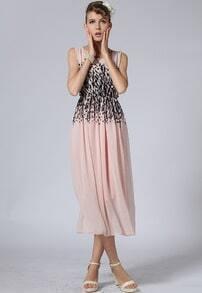 Pink Sleeveless Leopard Print Chiffon Dress