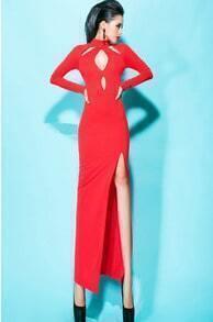 Red Long Sleeve Hollow Split Dress