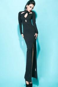 Black Long Sleeve Hollow Split Dress