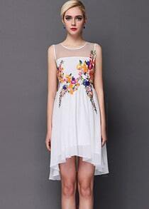 White Contrast Sheer Mesh Yoke Embroidered Dress