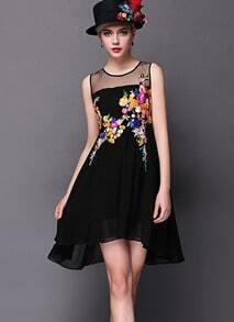 Black Contrast Sheer Mesh Yoke Embroidered Dress