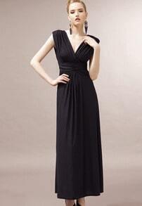 Black V Neck Sleeveless Backless Pleated Dress