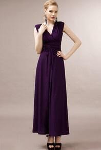 Purple V Neck Sleeveless Backless Pleated Dress