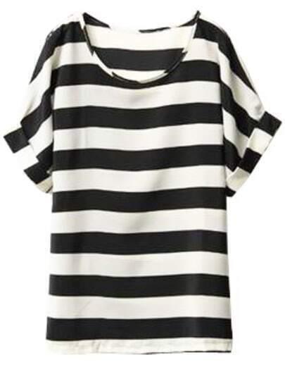 Black White Striped Batwing Chiffon T-Shirt
