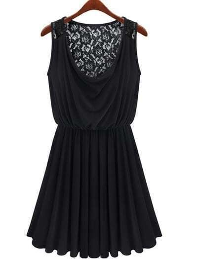 Black Sleeveless Contrast Lace Ruffle Dress