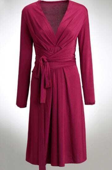 Red Long Sleeve V Neck Belt Dress