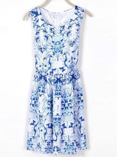 Blue Sleeveless Vintage Pattern Dress