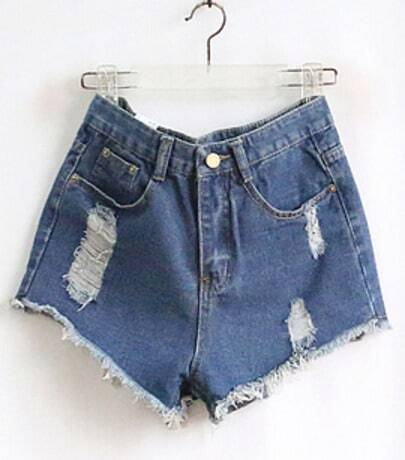 Blue Pockets Ripped Denim Pant
