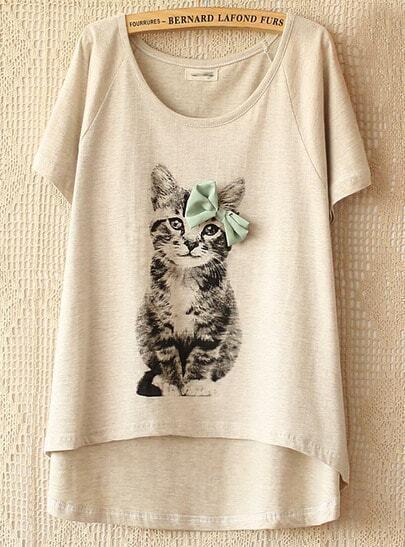 Grey Short Sleeve Cat Pattern T-shirt