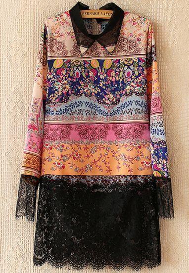 Black Lapel Floral Print Contrast Lace Dress