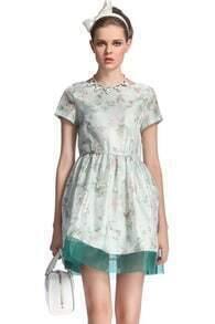 Green Floral Print Flare Dress