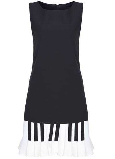 Black Sleeveless Piano Keys Print Dress