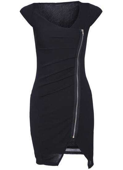 Black V Neck Short Sleeve Zipper Bodycon Dress