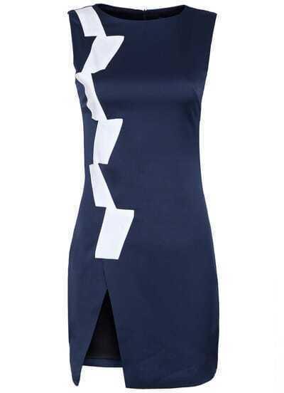 Navy Round Neck Sleeveless Split Mini Dress