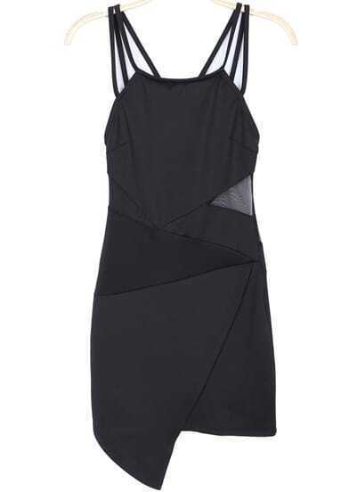 Black Spaghetti Strap Asymmetrical Bodycon Dress